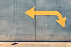 Bidirectional (Andrew_Dempster) Tags: sa minimalistic urban doubleendedarrow concretewall australia yellowpaintedarrow southaustralia minimal concrete wall adelaide arrow au