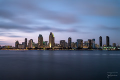 San Diego Twilight - Early Blue Hour (josefrancisco.salgado) Tags: 2470mmf28g california d5 nikkor nikon sandiego sandiegobay usa unitedstatesofamerica baha bay bluehour cloud clouds crepsculo evening exposicinlarga filtrodedensidadneutra longexposure neutraldensityfilter night nube nubes paisajeurbano skyline twilight coronado us