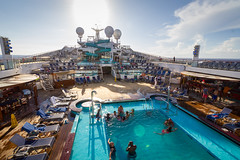 Lido Deck Central (Jerry Bowley) Tags: cruise caribbean carnivalglory swimming vacation lidodeck turquoisepool easterncaribbean carnivalcruiselines waterslide holiday twister