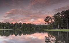 Fiery sunrise glow (Dragonsaur Long) Tags: sunrise sunriseglow lakevernon lake nature landscape outdoor trees reflections water clouds sky leesville usa glow sunlight orange pink fiery burningclouds