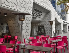 Melbourne Recital Centre (phunnyfotos) Tags: phunnyfotos australia victoria vic melbourne architecture building concrete 2009 polystyrene pattern texture chairs seats emptyseats cafe footpathdining melbournerecitalcentre concerthall hall venue southbank nikon d750 nikond750 pink colour color colorful colourful seating heater patioheater