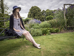 Marille, Hampshire 2016: The bench (mdiepraam) Tags: marielle hampshire 2016 mottisfont nationaltrust england britain portrait pretty gorgeous attractive mature fiftysomething brunette woman lady milf elegant classy hat necklace dress garden