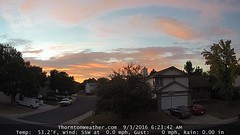 September 3, 2016 - A colorful sunrse in Thornton. (ThorntonWeather.com)