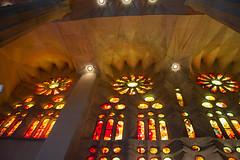 Lumire (nais.03_anais) Tags: light cathedral sagrada familia cataluna espana gaudi incredible red yellow orange vitraux cathdrale sainte famille hommage homenaje contemporain work art artistic organic fantastic rosace prouesse architecture architectural toile star shape inspired inspir inspiration nature naturaleza organica