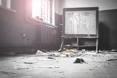 Classroom (#Weybridge Photographer) Tags: chernobyl chornobyl pripyat ukraine nuclear disaster exclusion zone radiation reactor urban decay decaying abandoned discarded adobe lightroom canon eos dslr slr 40d class classroom black board blackboard graffiti lens flare