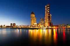 Rotterdam, The Netherlands (Tobias Mnch) Tags: rotterdam netherlands nederland europe city urban night nightshot skyline skyscraper highrise wilhelminapier kopvanzuid nieuwemaas river water reflection worldportcenter montevideo derotterdam remkoolhaas oma normanfoster fosterpartners