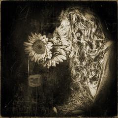 face plant (MacroMarcie) Tags: faceplant sunflowers flowers hair square texture selfie selfportrait woman 365 project365 sepia monochrome