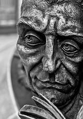 Bronze Figure (3) The Meeting Place Sculpture - St Pancras rail station (BW) (Olympus OMD EM5II & mZuiko 17mm f1.8 Prime) (markdbaynham) Tags: london londonist londoner st pancras rail station decor detail urban metropolis omd em5ii csc evil mirrorless mft m43 m43rd micro43 micro43rd microfourthirds mz zd mzuiko zuikolic 17mm f18 prime bw zuiko belgium city