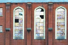 A Fancy Church Of Brick (axi11a) Tags: atl atlanta localparks parks georgia unitedstates us brick broken window stainedglass faux decay drafty exposed