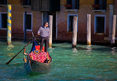 Venice, gondola (Albert Photo) Tags: venice italy reflection water river boat europe traditional tourists transportation rowing oar gondola grandcanal boatman gondolier palazzoducale piazzasanmarco propelled stmarkssquare