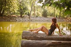 Liz (Lauren[Mackenzie]) Tags: park portrait woman tree film nature girl female canal log pentax curlyhair