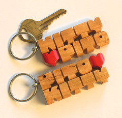Cherry Love Keychains (DustyNewt Scott) Tags: wood love cherry pull wooden keychain keyring key heart handmade name tag kitty couples charm lovers ring chain exotic zipper accessories etsy custom promotional favor fundraiser woodworking wholesale pito personalized fob artfire dustynewt zibbet