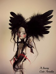 Soledad,mh (Alexandra Soury /Cute Amalia) Tags: black monster wings goth makeup repaint ghoulia monsterhigh monsterhighdoll