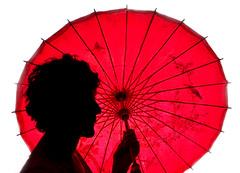Silhouette Lesson (Bill Gracey) Tags: red silhouette umbrella maria profile sb600 whitebackground parasol strobe offcameraflash explored bareflash gavinhoey adoramatv