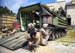 At the Ready (United States Marine Corps Official Page) Tags: usmc training virginia us unitedstates military rifle vehicle marines practice marinecorps bfa teamwork aav marksmanship mout combatcamera comcam dryrun fortpickett platecarrier amphibiousassaultvehicle m4carbine