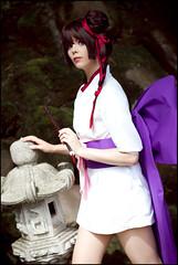 Vampire Princess Miyu (Calssara) Tags: anime dark japanesegarden mask cosplay manga flute kimono browneyes larva dutt brownhair vampireprincessmiyu vampiremiyu whitekimono kyuuketsukihimehime purpleobi