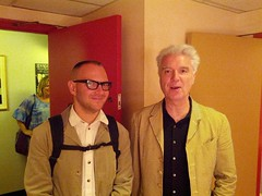 Me and David Byrne 5, backstage at Fleck Theatre, Queen's Quay Terminal, Harbourfront, Toronto, Ontario, Canada (gruntzooki) Tags: toronto ontario canada corydoctorow harbourfront fleck davidbyrne ifa queensquay queensquayterminal flecktheatre