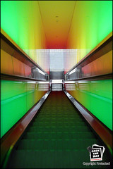 17940 (Jack the Hat Photographic) Tags: green stairs weird pattern colours spectrum geometry 28mm escalator tunnel symmetry stairway 5d jamierobertson jackthehat