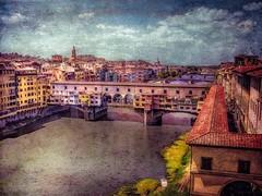 Ponte Vecchio-Explore 9/26/12 (DaraDPhotography) Tags: city bridge urban italy texture buildings town florence view textured pontevecchio memoriesbook mrmrst lenabemannatextures wwwdaradphotographycom pixeldustphotoart texture189 pdpamonetslight