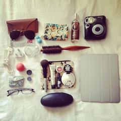 What's in my bag? (SatinandSouffles) Tags: polaroid whatsinmybag raybans ipad wimb