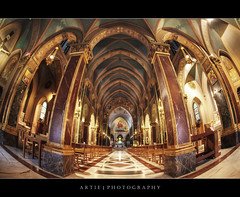Church of St Alphonsus Liguori, Rome, Italy :: HDR (Artie | Photography :: I'm a lazy boy :)) Tags: italy rome church architecture photoshop canon ancient cathedral engineering structure symmetry fisheye handheld marble 1855 neogothic 15mm f28 ef hdr artie stalphonsus cs3 3xp photomatix tonemapping tonemap santalfonso esquilinehill alphonsusliguori 5dmarkii 5dm2 santalfonsodiliguoriallesquilino