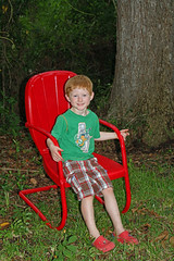 Vintage RED Lawn Chair (babyfella2007) Tags: old autumn boy red portrait jason tree fall beach sc broken metal vintage garden tile design chair pattern child floor antique grant south low country lawn michelle style southern porch sit taylor carolina myrtle shorts marble pecan beaufort lowcountry ridgeland batesburg