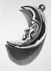 Half moon (GnomesAndCookies) Tags: christmas moon white black monochrome pencil sketch shiny drawing charm luna study doodle ornament half graphite