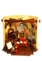 Legonardo da Vinci (Legopard) Tags: tower painting chair lego room details perspective shelf da inventor leonardo vinci regal kamin sessel turmzimmer gemlde vig geblk entdecker erfinder legonardo