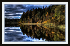 Rosholtjenn (yvind Bjerkholt (Thank you all for 190K+ views)) Tags: autumn sky lake reflection nature water beautiful norway clouds forest canon season landscape eos norge pond dream hdr skyer srlandet grimstad photomatix 600d austagder criticismwelcome rosholtjenn
