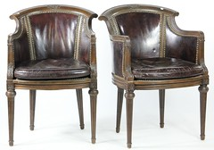 23. Pair of Leather French Chairs