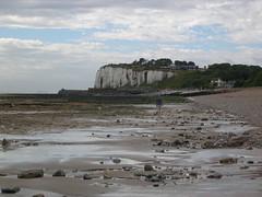 Kingsdown - Kent (jcbkk1956) Tags: cliffs seaside beach coolpix4300 nikon eastkent kent kingsdown woman beachcomber ship ferry englishchannel worldtrekker