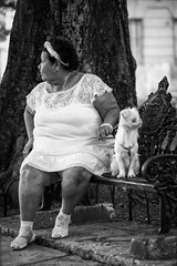 Where's my dog? (Havana, Cuba) (PaulHoo) Tags: havana cuba people 2015 city urban citylife woman dog monochrome bw candid streetcandid beauty sitting lost contrast opposite nik silverefex lightroom nikon d700