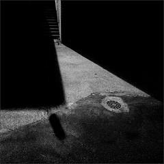 Drain Lid Among Other Elements (Olli Keklinen) Tags: work4194 nikon d800 photoshop ok6 square ollik 2016 20160819 bw dark steps shadows malmi helsinki suomi finland