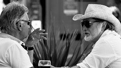 Savour the Moment (Neil. Moralee) Tags: man men beer drink drinking drinkers wine street hat beard mature expert connoisseur two couple duo both alcohol france candid cafe glasses sun outdoor outside people neil moralee nikon d7100 black white bw blackandwhite mono monochrome