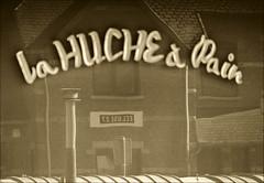 La boulangerie de l'cluse (chando*) Tags: bakery barge blackwhite boulangerie lahuchepain lock monochrome noiretblanc pniche reflection reflet ronquires sepia shopwindow vitrine cluse