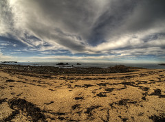 Platte Saline on Alderney (neilalderney123) Tags: 2016neilhoward alderney landscape plattesaline beach water cloud olympus samyamg fishie fisheye