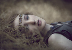 Golden ({jessica drossin}) Tags: jessicadrossinphotography woman lady finearttints grass redhead headband jewels golden overlays actions wwwjessicadrossincom jdbeautifulworldcollection