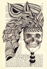 skull with headband (rambo) (Jo in NZ) Tags: blackandwhite hair skull anatomy linedrawing zentangle nzjo
