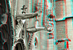 Notre Dame Paris 3D (wim hoppenbrouwers) Tags: paris church facade 3d cathedral anaglyph notredame gargoyles eglise parijs redcyan waterspuwers