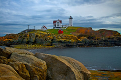 Sunshine on a Cloudy Day (SunnyDazzled) Tags: york light lighthouse beach nature sunshine station clouds landscape island coast rocks day cloudy south maine southern coastal nubble coth coth5