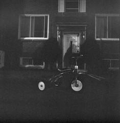 (edwardlepine) Tags: film night dark still tricycle grain fast 02 homage 2012 ilforddelta3200pro montrealwest