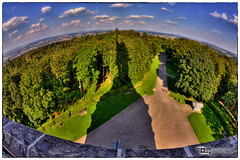 Der Schatten des Hermann (Dominik Hartmann) Tags: trees shadow sky monument statue stone clouds canon germany landscape deutschland forrest himmel wolken sigma fisheye nrw landschaft wald stein bume schatten hdr denkmal detmold 10mm lippe hermannsdenkmal teutoburger 550d hiddesen