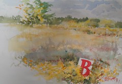 Bee in the Goldenrod (Artist Naturalist-Mike Sherman) Tags: b rural painting landscape farmland pleinair midmichigan transparentwatercolor paintingonlocation