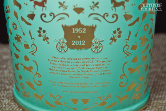The back of the Twinings Diamond Jubilee Commemorative Blend tin case