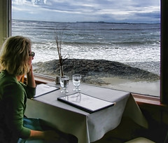 Now THIS is a Table with a VIEW! (jackaloha2) Tags: sea canada water table restaurant glasses rocks view britishcolumbia shoreline vancouverisland shore seashore