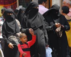 Splash of red (MJField) Tags: india women islam hijab muslims hyderabad niqab burqa