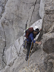 The Bugaboos - Alana Climbing the Col (Tideline to Alpine Photo, Idiosyncrasy Exemplified) Tags: camping sky mountains expedition clouds hiking spires gear adventure climbing alpine mountaineering wilderness scrambling alpinism bugaboos thebugs tradclimbing alpineclimbing bugabooprovincialpark twinropes crescentspire applebeecamp applebeedome bugaboocrescentcol