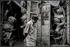 Safe Passing (ujjal dey) Tags: blackandwhite monochrome walk idol dreams passing kolkata durga ujjal mahishashur kumartuli nikond90 nikon18105mm ujjaldey safepassing ujjaldeyin