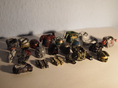 BrickAffliction and Amazing Armory collection. (~GIOVANNI~) Tags: 2 3 belt amazing war arms lego legs random lol chief helmet halo tags master armor guns torso carter reach piece armory gears lancer jun fallout carmine brickarms