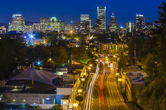 Vista Bridge View (Explore 10/8/12) (clarsonx) Tags: city longexposure max skyline night oregon portland downtown cityscape traffic boo clear explore vista sw lighttrails bluehour lightrail avenue trimet dropped hdr vistabridge goosehollow 3xp digitalblending swjeffersonstreet